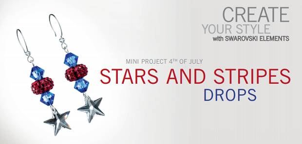 swarovski elements fourth of July crystal earring drop Stars and Stripes design inspiration