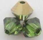 Swarovski Crystal 5328 Bicone Peridot Dorado