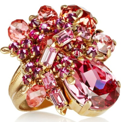Swarovski Pink Ring with Rose, Fuchsia, Padparadacha