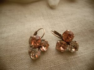 Swarovski Rose Peach Earrings Lois at Jewelry from my garden