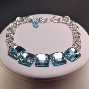 Swarovski Square Sew on Stones Aquamarine