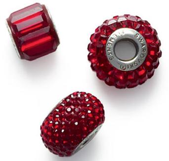 Swarovski BeCharmed Pave Beads January Birthstone Siam or Ruby Color