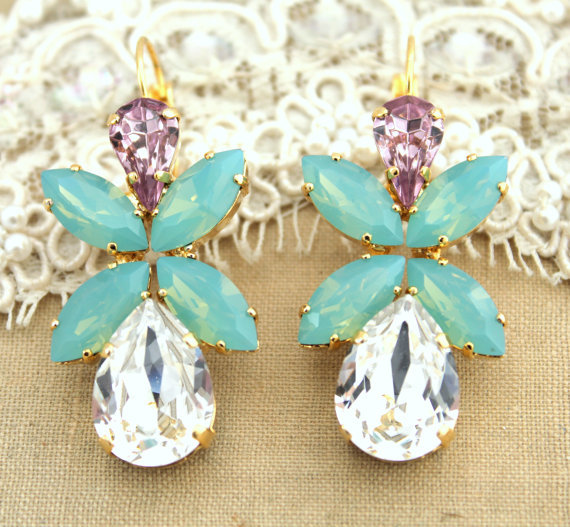 Wedding mint gold and rose earrings