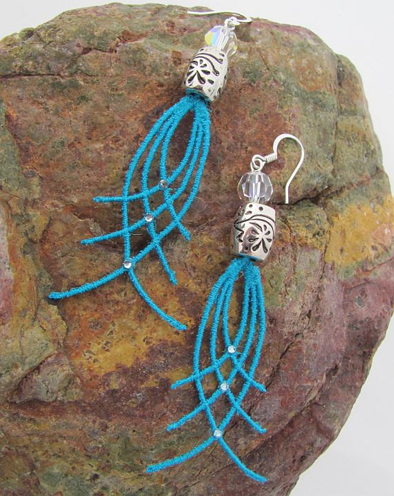 Anita Turquoise Geometric Lace Dangle Earrings made with SWAROVSKI ELEMENTS