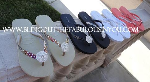 Crystal Fetsih Blinged Havianna Flip Flops Handmade with SWAROVSKI ELEMENTS