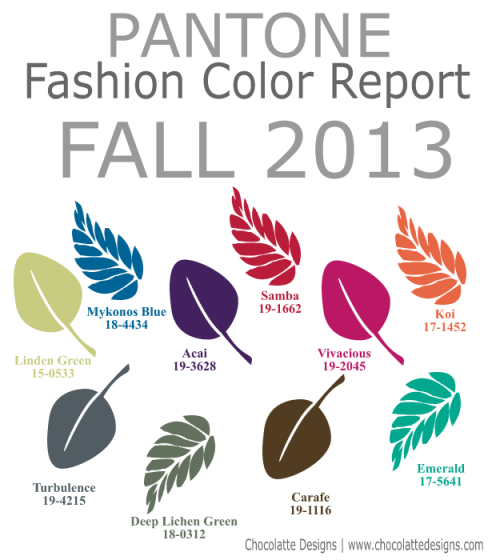 Fall 2013 Pantone Palette color trends
