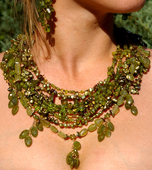 Peridot Necklace handmade by Betsy Klein Jewelry