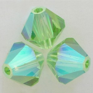 Swarovski Crystal 5328 Bicone Peridot AB 2X
