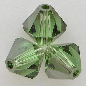 Swarovski Crystal 5328 Bicone Peridot Satin