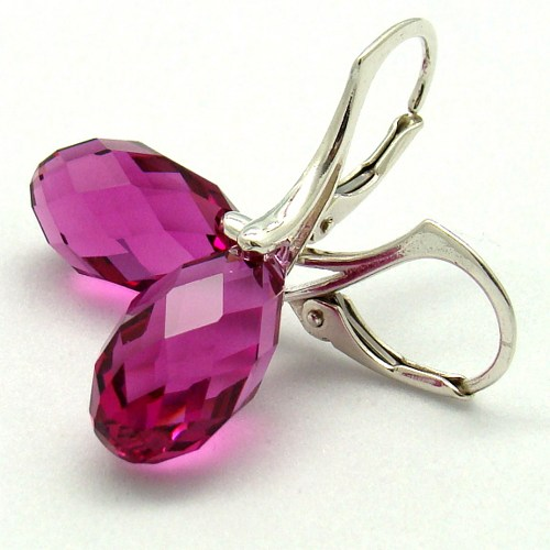 Swarovski Crystal Fuchsia 6010 Briolette Earrings