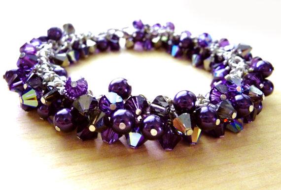 Swarovski Crystal Purple Velvet Bracelet