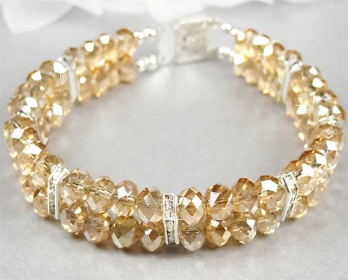 golden shadow swarovski crystal multistrand bridal bracelet