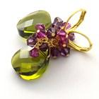 olivine and Fuchsia_swarovski_crystal_earrings_22k_gold_plated_green_jewelry