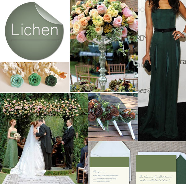 Pantone 2013 Fall Lichen Deep Green Wedding Color Inspiration
