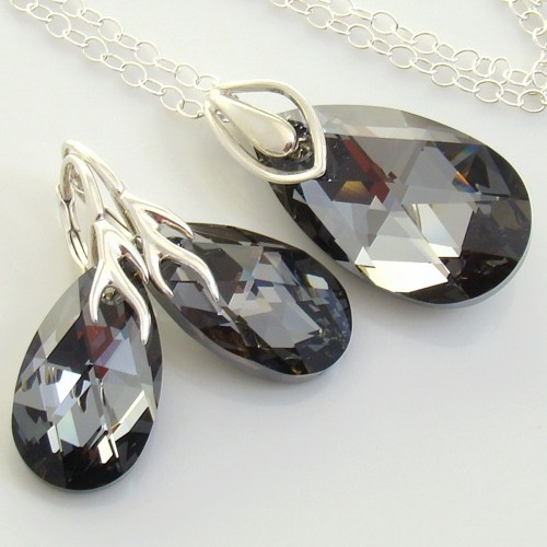 crystal silver night jewelry set swarovski_crystals_sterling_black_jewelry_set_