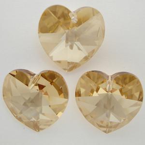 Swarovski 6628 Crystal Heart in Crystal Golden Shadow