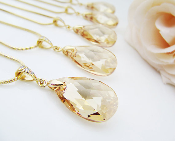 Swarovski Crystal 6106 Pearshape Pendants in Crystal Golden Shadow Wedding Jewelry