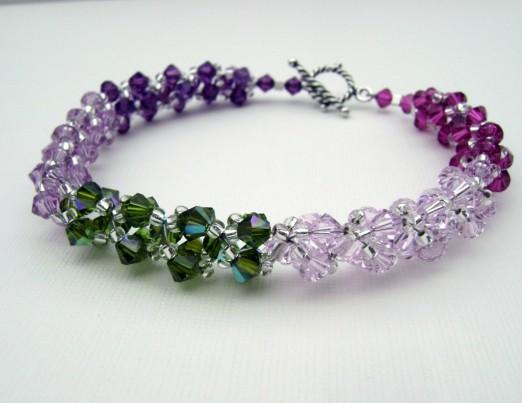 Swarovski Crystal Bracelet Light Amethyst Olivine AB Fuchsia