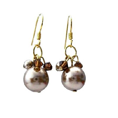 Swarovski Crystal Pearl and crystal earrings Fall color inspiration