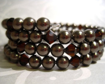Swarovski Crystal Pearl deep brown and Mocca Bicone Beads wrap bracelet