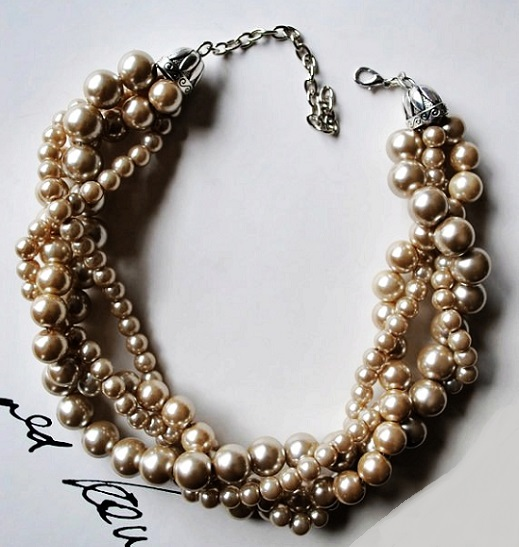 Swarovski Crystal Pearls Bronze and champagne chunky pearl-4 strand- twisted statement necklace
