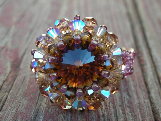 Swarovski Rivoli Ring hand made Smoked Topaz