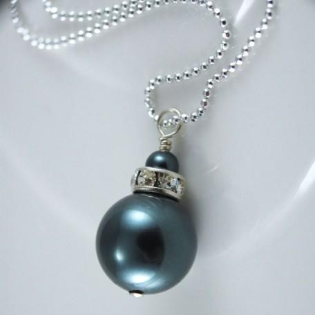 Swarovski Crystal Tahtian Pearl and Rhinestone Rondelle Silver Crystal Necklace