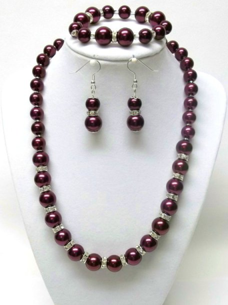 Swarovski Pearl Burgandy and Rhinestone Rondelle Necklace