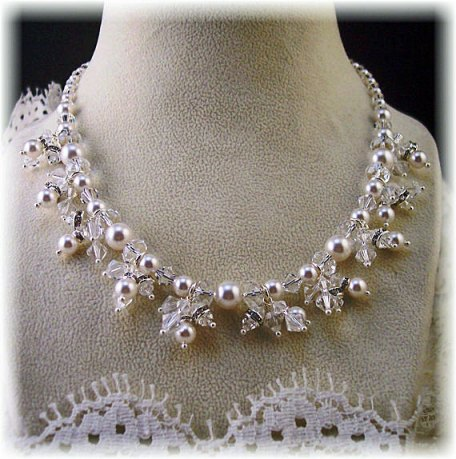 Swarovski Crystal Bridal Necklace Pearls and Crystals