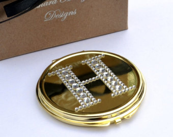 Swarovski Crystal Gold Compacts or purse mirror
