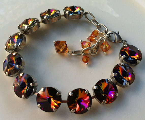 Swarovski Crystal Volcano Round Stone Necklace with Topaz Bicones