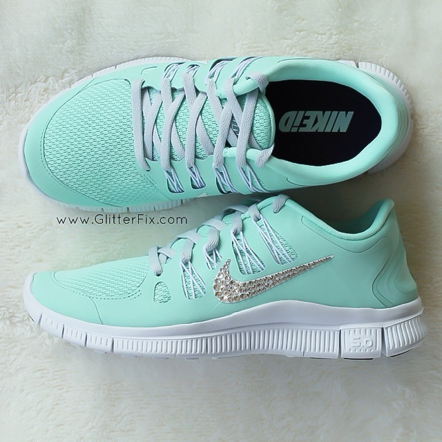 Swarovski Crystal Nike Shoes Mint Green
