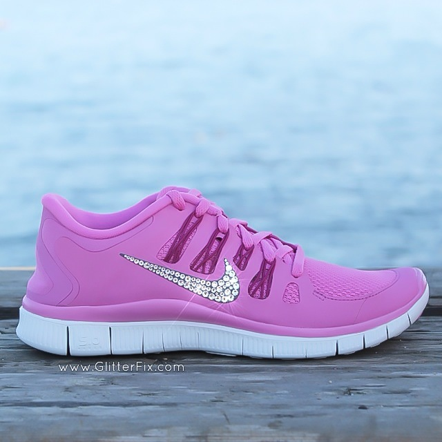 89aa16acb0f2 Womans Nike Free Run 5.0 Pink Violet Shoes Embellished with ...