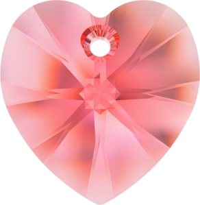 Swarovski 6228-14mm Rose Peach Heart Pendant
