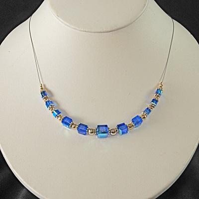 Swarovski Crystal Cube Necklace Sapphire Blue
