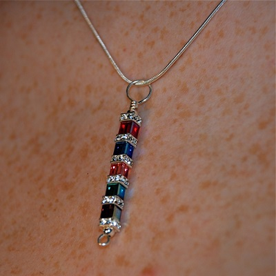 Swarovski Crystal Cube Pendant Necklace multi colored