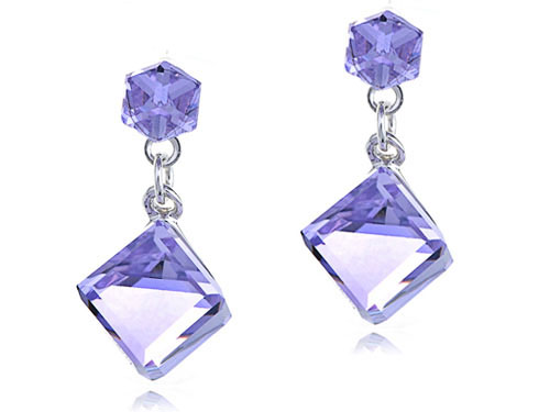 Swarovski Off Set Cubes Puprple Earrings