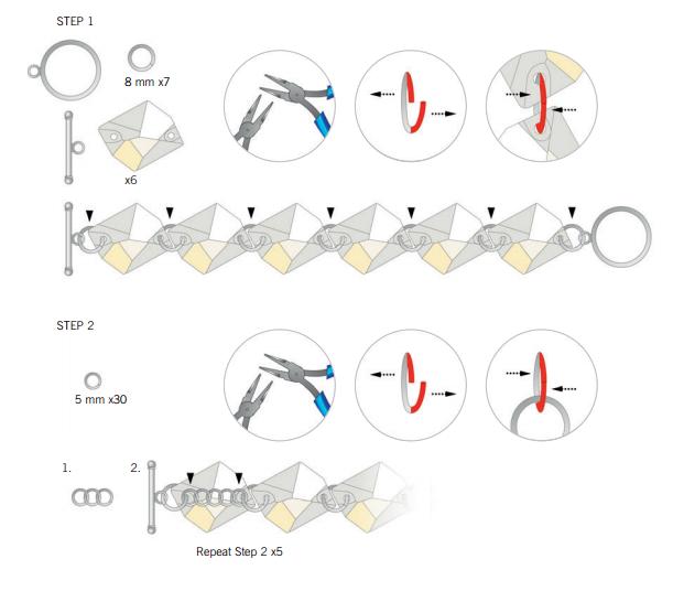 Swarovski_Summer_Charm_Bracelet_Free_Design_and_Instructions_Steps_1_and_2_