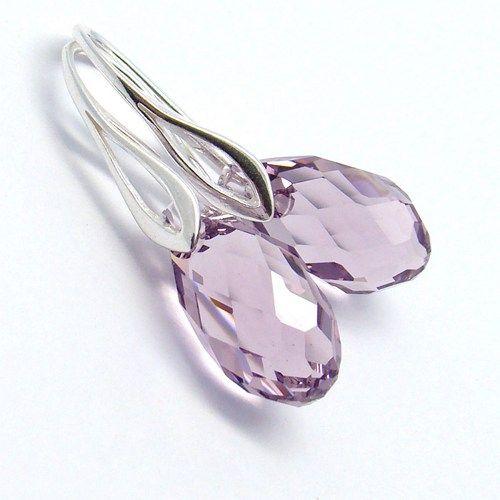 6010 Swarovski Briolette earrings in Light Amethyst