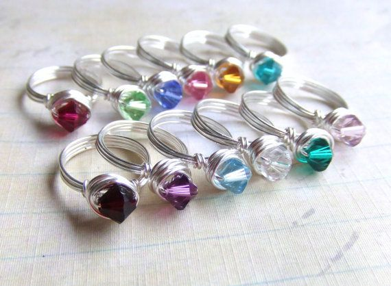 Swarovsk Birthstone Colors Bicone rings