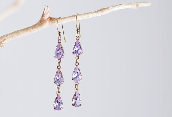 Swarovski Alexandrite Color Earrings