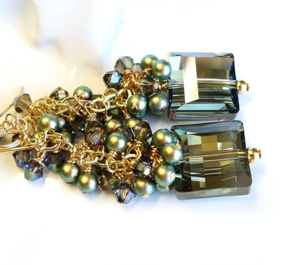 Swarovski Crystal Iridescent Green Earrings
