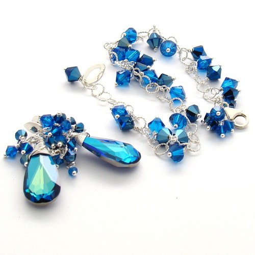 Swarovski Crystal Metallic Blue 2X Jewelry
