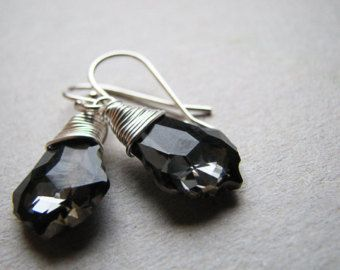 Swarovski Crystal Silver Night Baroque Earrings wire wrapped
