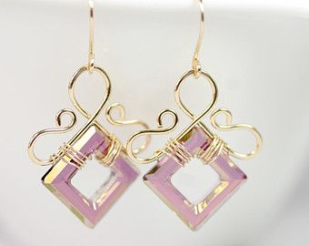 Swarovski Square Beads Wire Wrapped