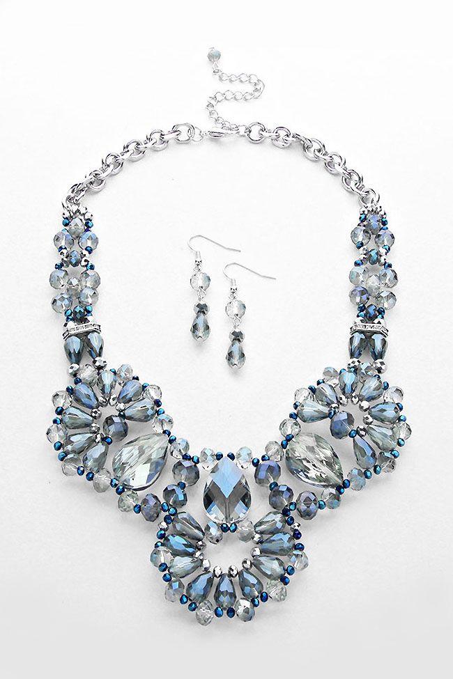 Swarovski Crystal Blue Necklace Design Inspiration