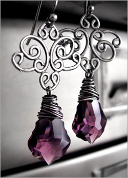 Swarovski crystal earrings baroque style in Amethyst wire wrapped