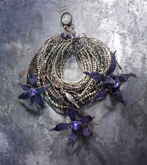 Swarovski Crystal Jewelry Inspiration Pearl and Purple Necklace