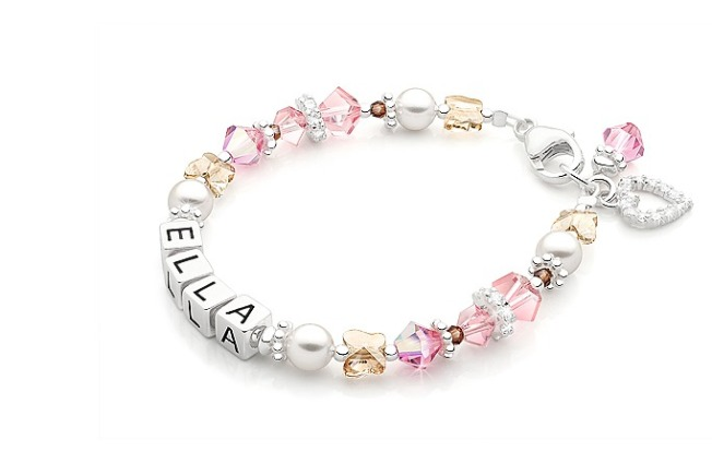 Tiny Blessings personalized jewelry made with Swarovski Crystal Elements Childrens name bracelets beads