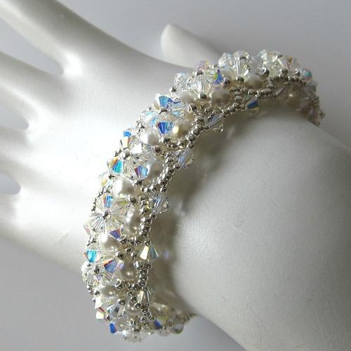 Swarovski Beaded Crystal Bracelet Bridal Jewelry
